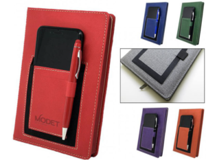 A promotional or customized notebook